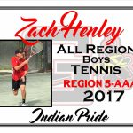 Zach Henley All Region Boys Tennis