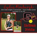 Lydia Roxburgh AAA State Singles Rescheduled
