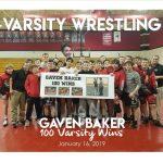 Gaven Baker 100 Wins Varsity Wrestling