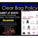 V Football at Edisto 10/25  Clear Bag Policy