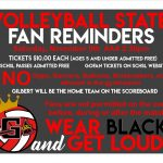Volleyball Fan Reminders for State