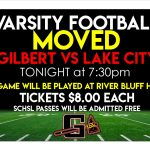 V Football Game has been MOVED to RBHS