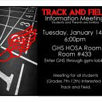 Track and Field Meeting TODAY