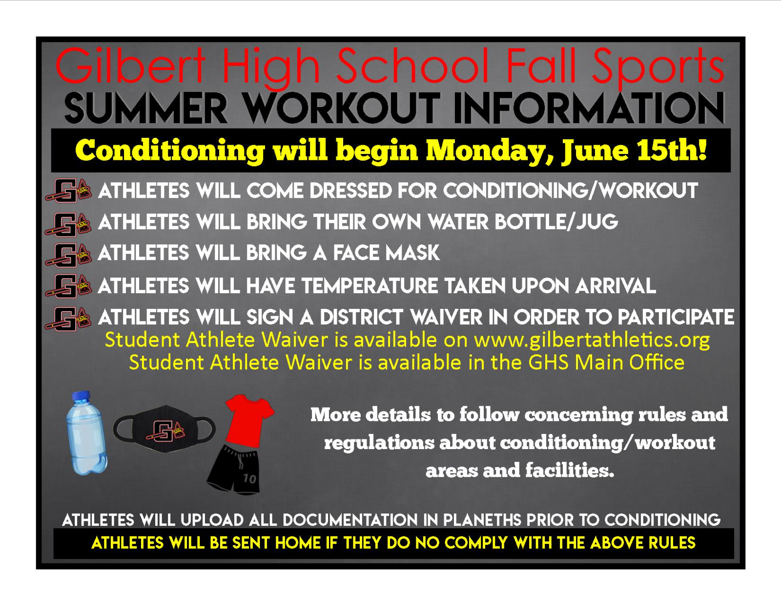 Summer Conditioning for Fall Sports Begins Monday, June 15th!