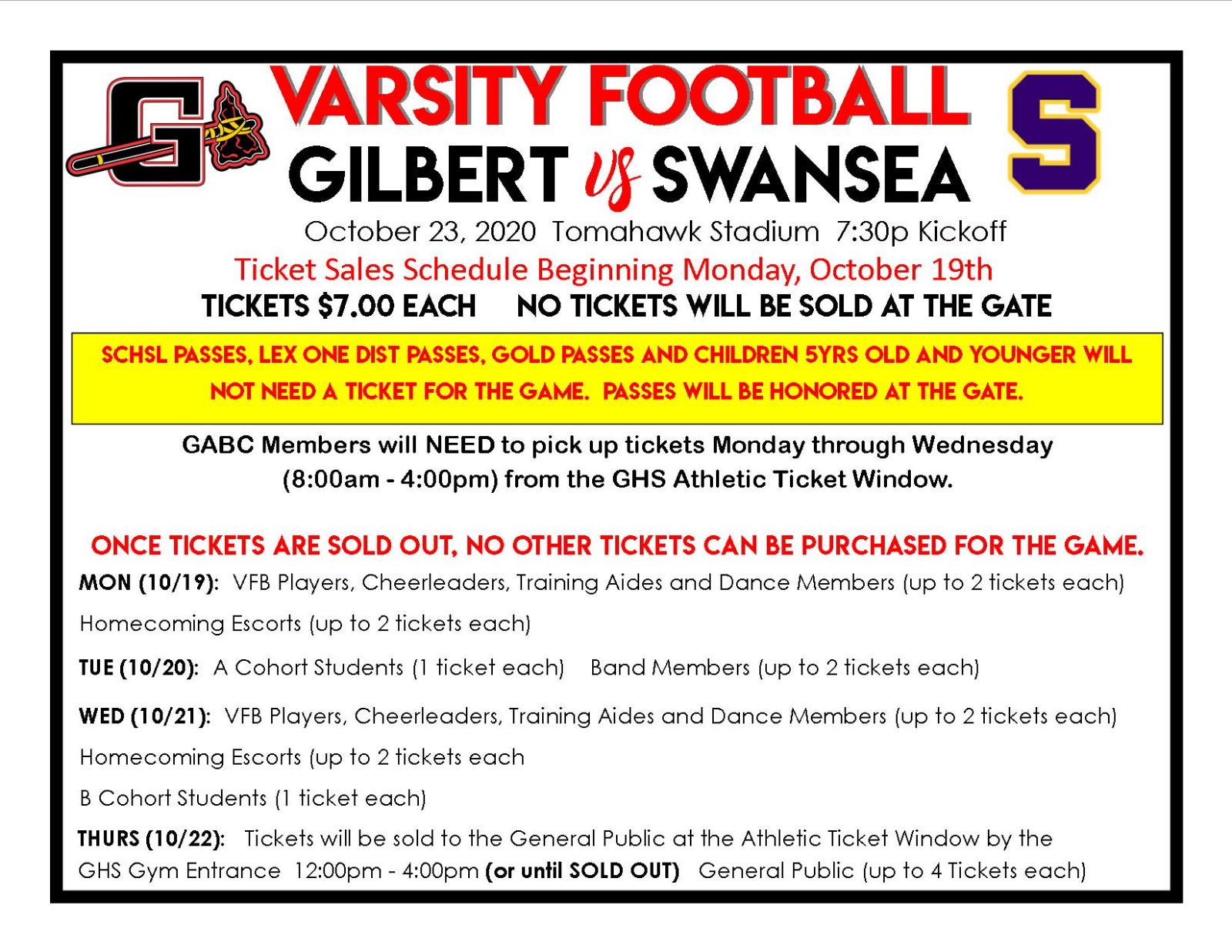 Gilbert/Swansea Varsity Football Tickets