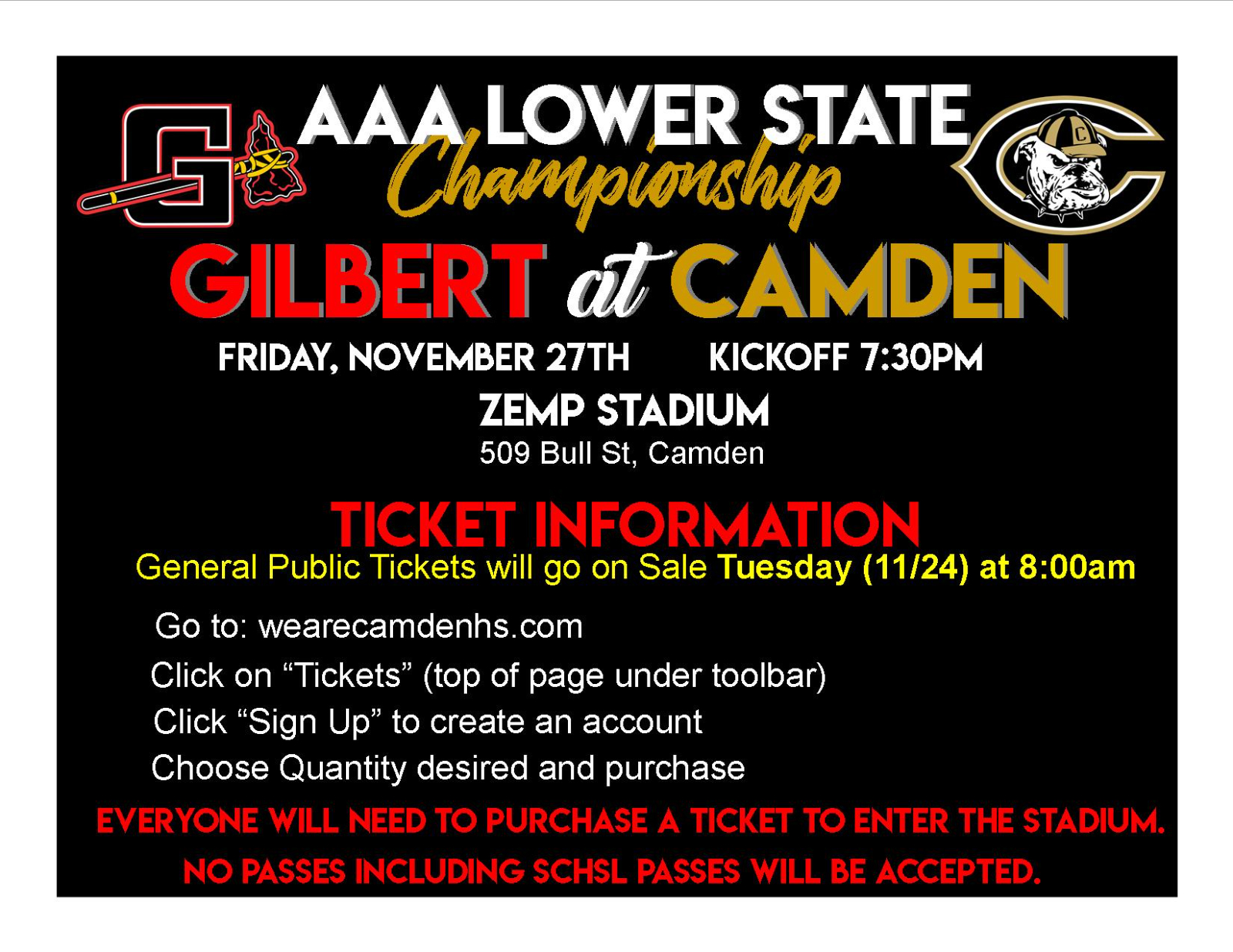 Gilbert/Camden Ticket Sale Information