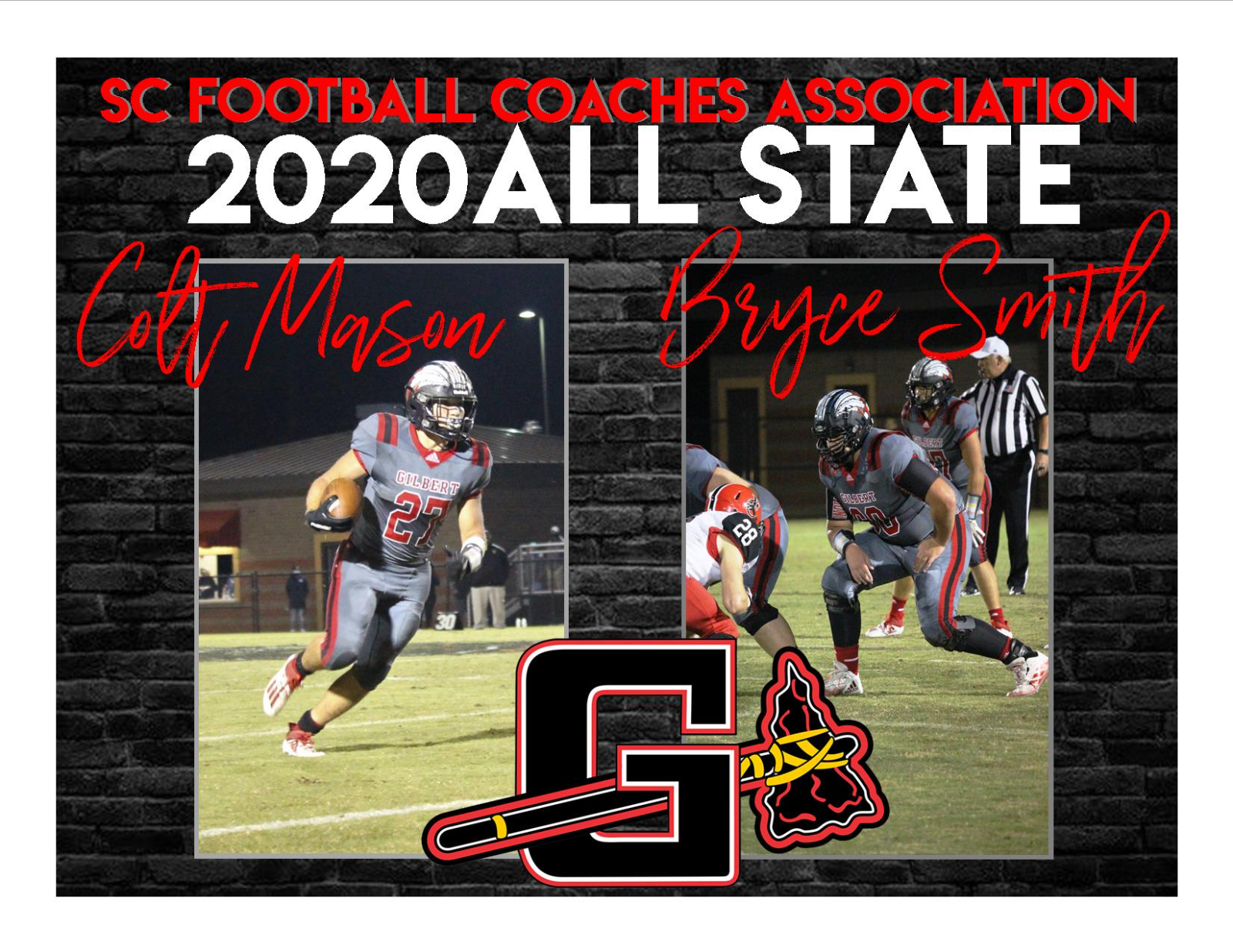 Congratulations Colt Mason and Bryce Smith 2020 SC Football Coaches Association All State Team