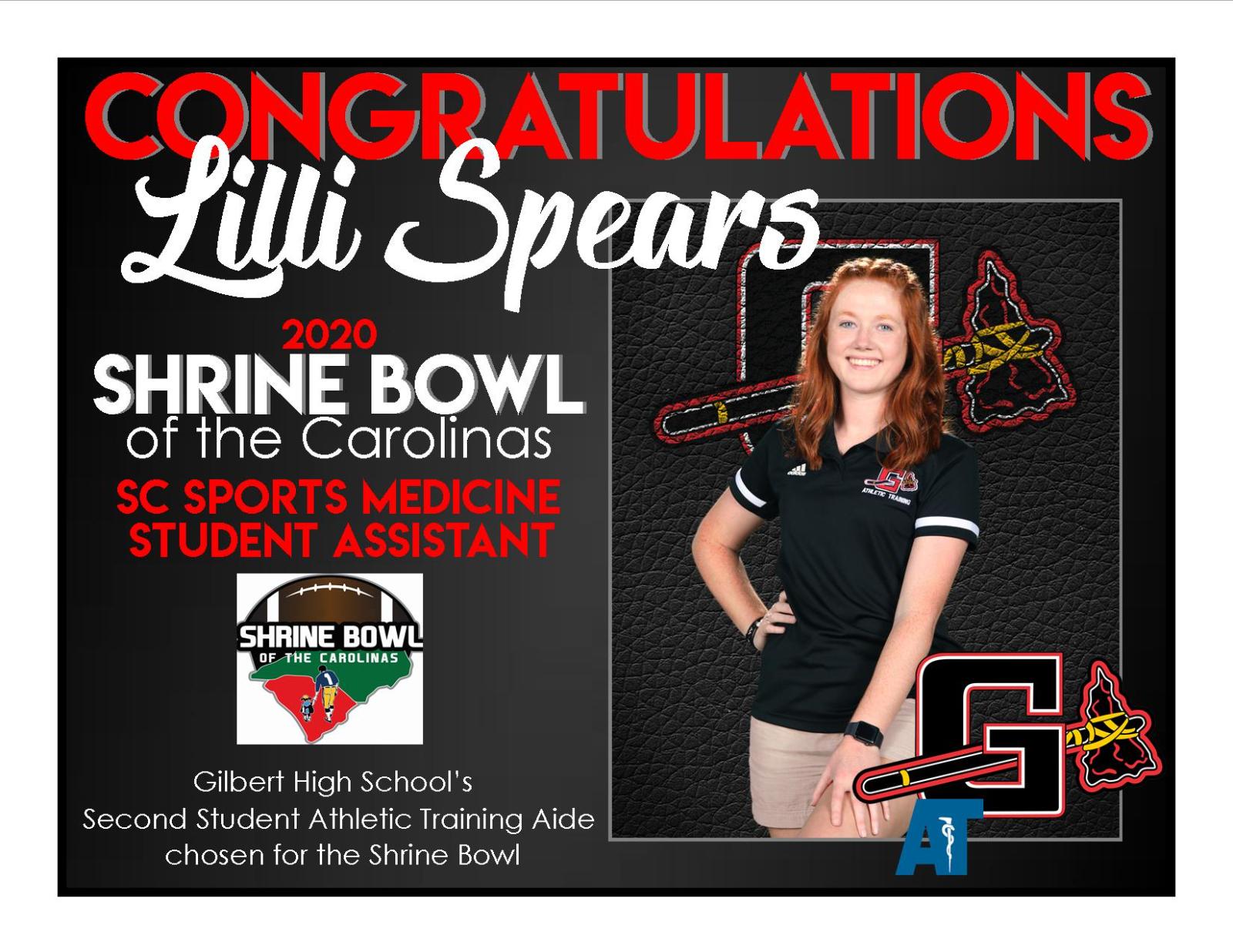 Lilli Spears SC Sports Student Medicine Asst for the Shrine Bowl