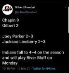 Boys Varsity Baseball falls to Chapin 9 – 2