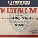 Boys Soccer Awarded United Soccer Coaches Team Academic Award
