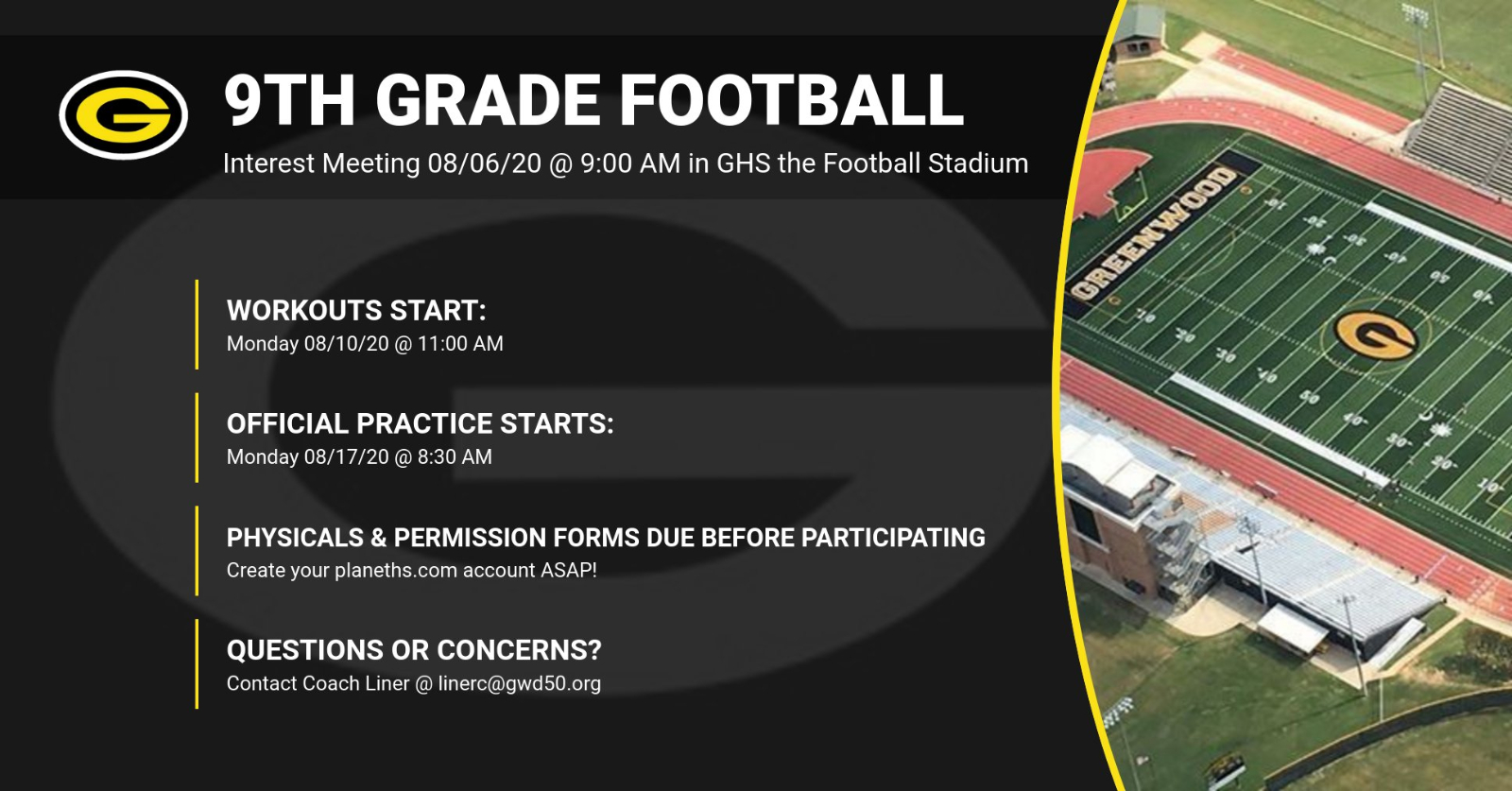 Rising 9th graders interested in 20-21 Football…