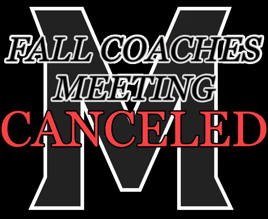 Fall Parent Coaches Meeting CANCELED