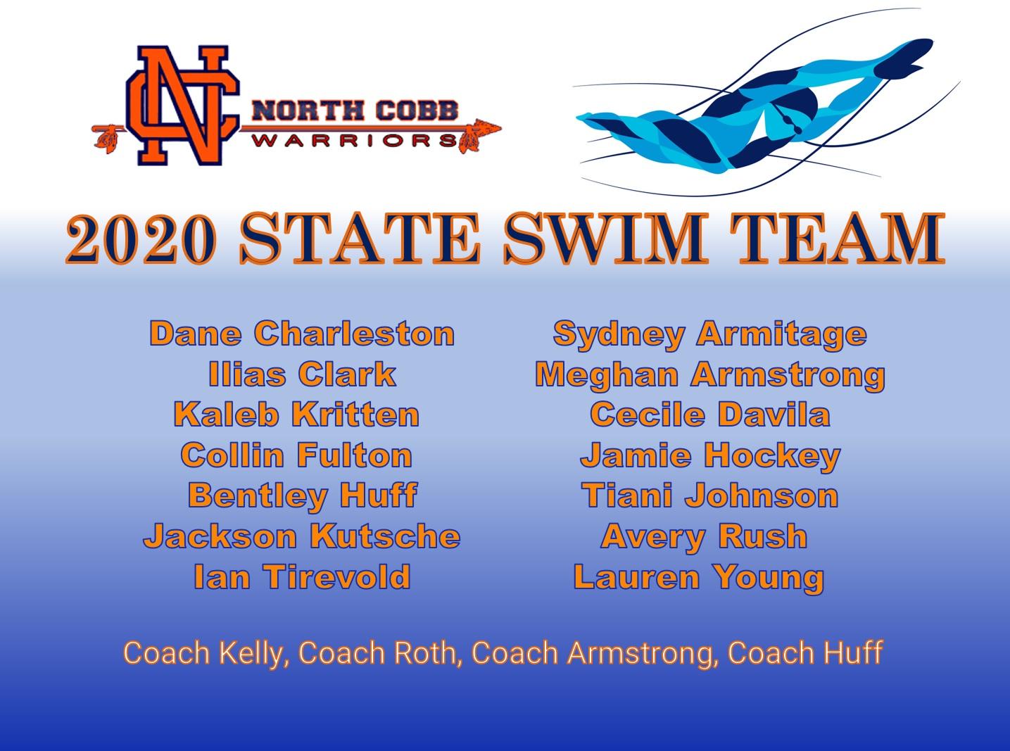 NCHS State Swim Team at GHSA Championships Feb 7 & Feb 8, 2020