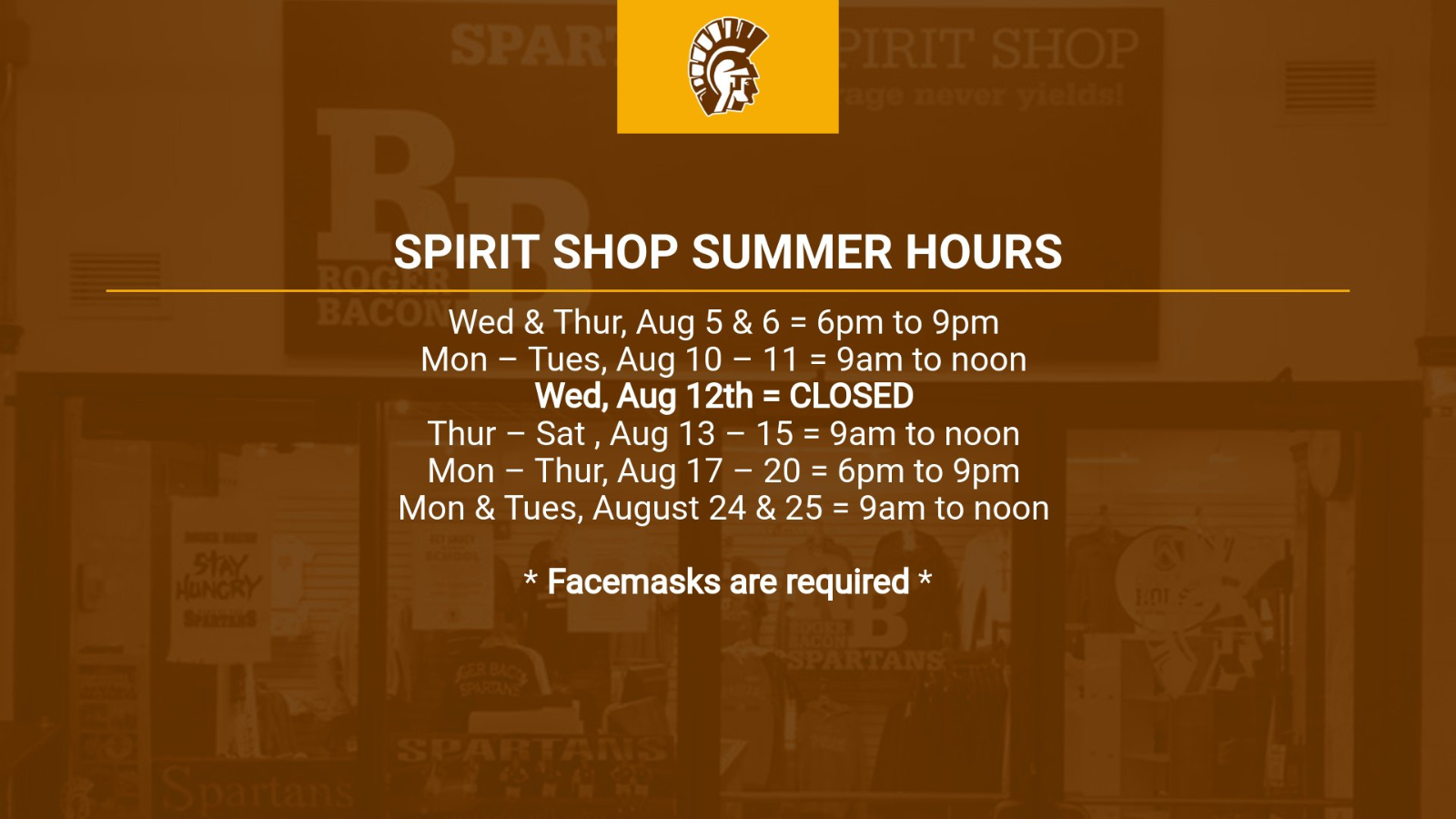 Spirit Shop Summer Hours