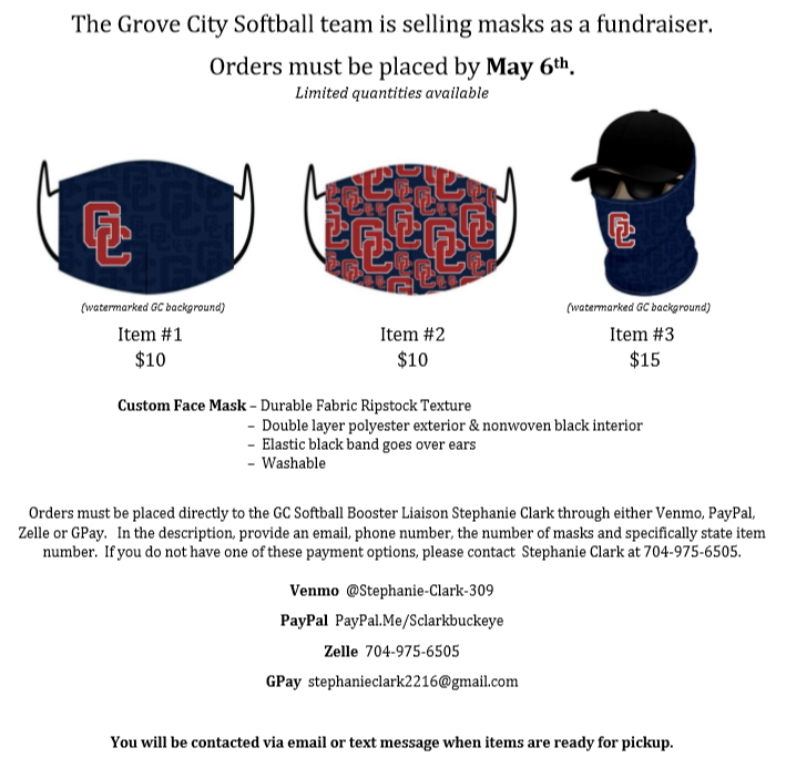 GC Softball Mask Fundraiser / Open through Dec. 31, 2020
