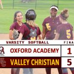 Varsity Softball Defeats Oxford Academy