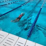 A swimmer swimming.