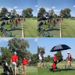 Multiple pictures of golf players practicing.
