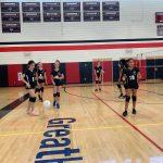 Volleyball team practicing.
