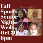 Fall Sports Senior Night announcement.