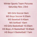 Winter Sports Team Picture Schedule