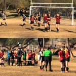Multiple picture of the girl's soccer game.