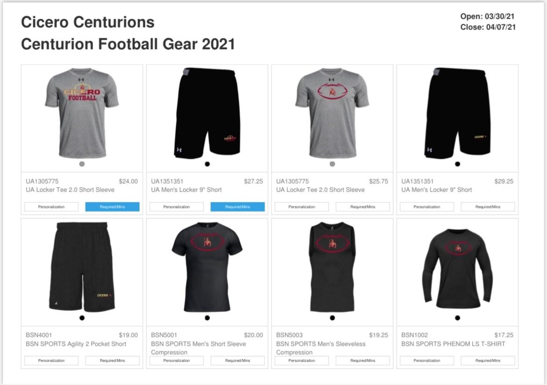 New Cicero Centurions Football Gear 2021