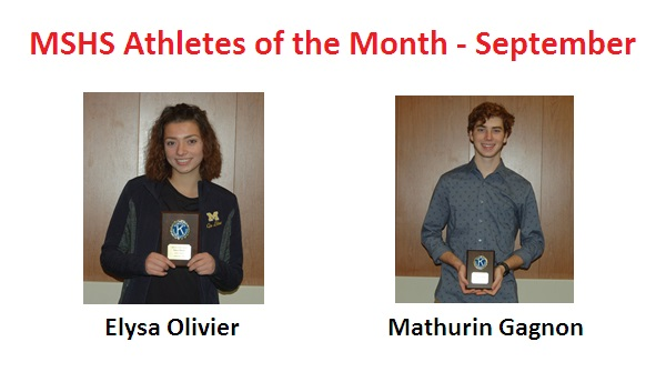 Elysa Olivier and Mathurin Gagnon Named September Athletes of the Month