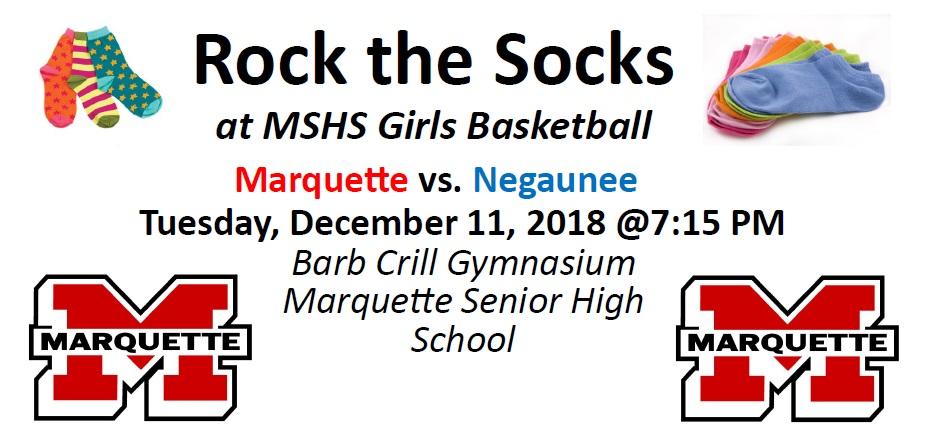 Rock the Socks Set for 12/11/18 Girls Basketball vs. Negaunee