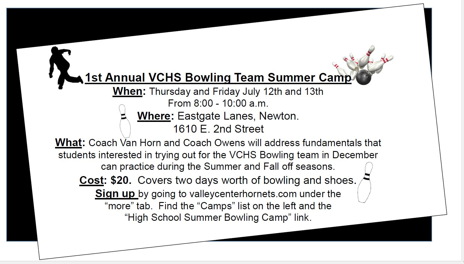 Bowling Camp Info