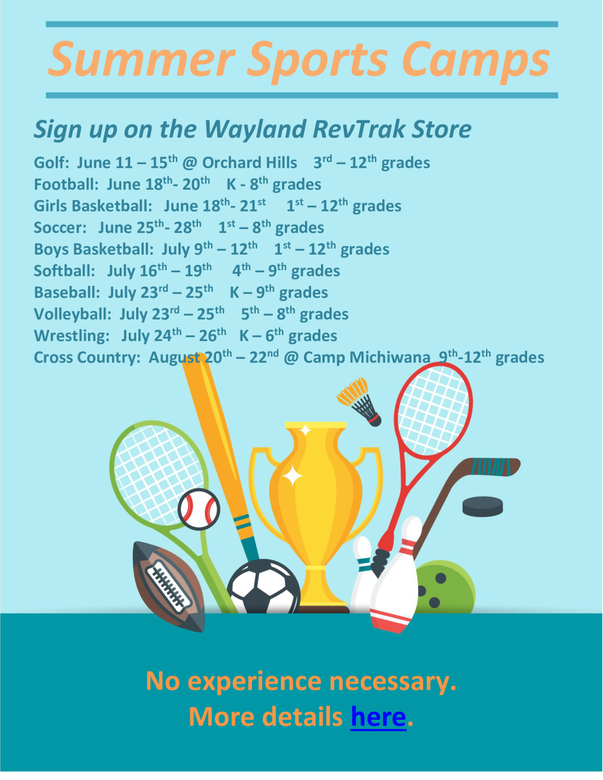 Summer Sports Camps 2018 (Updated 5/31)