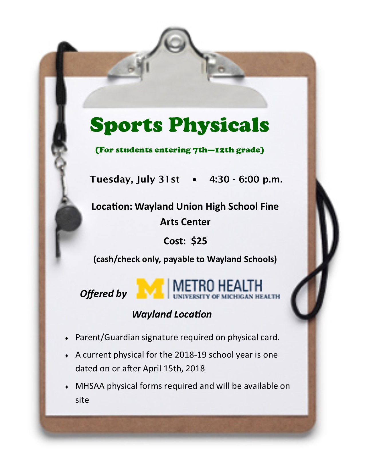 Sports Physicals 2018-19