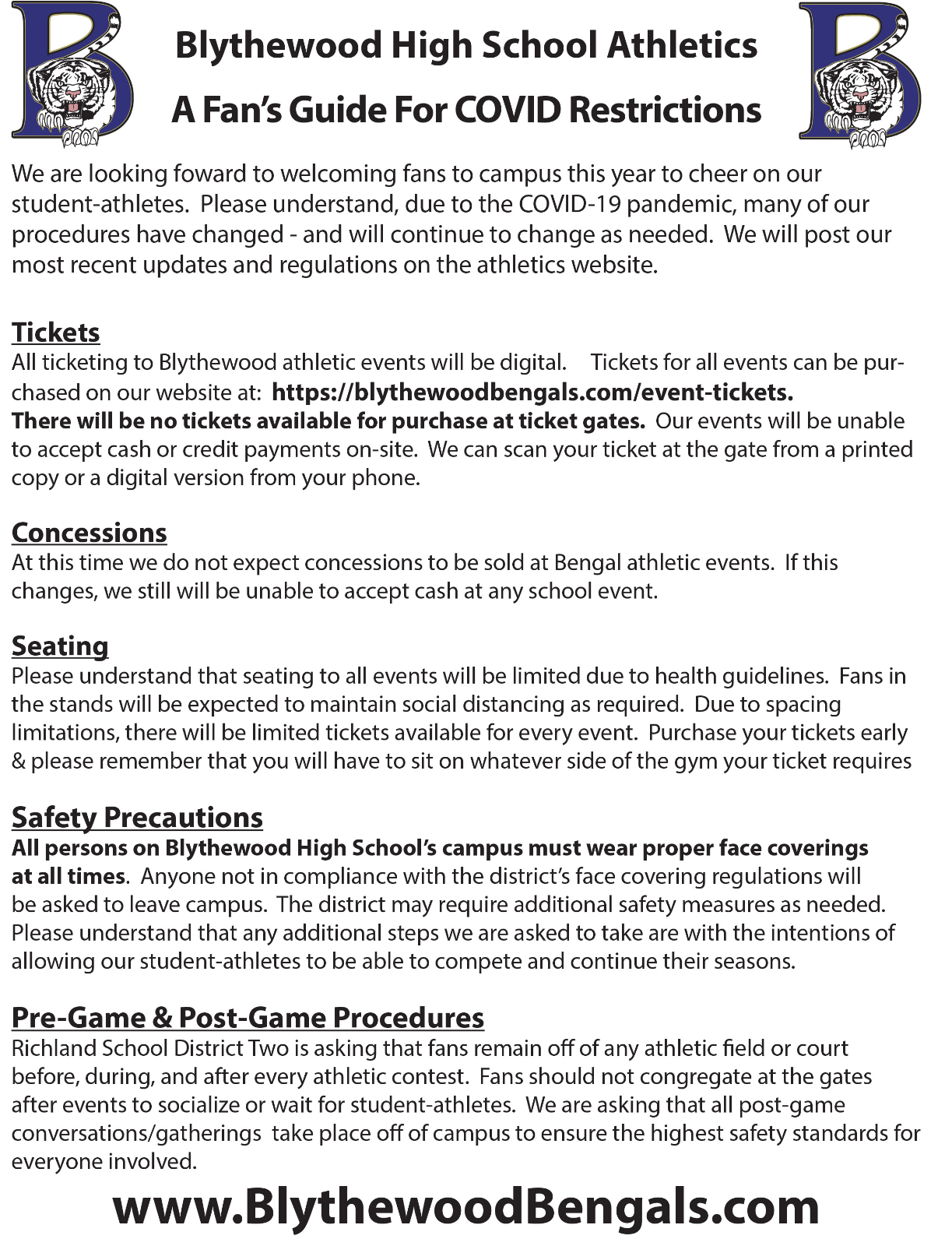 Ticket & Fan Procedures For Home Winter Sports Events