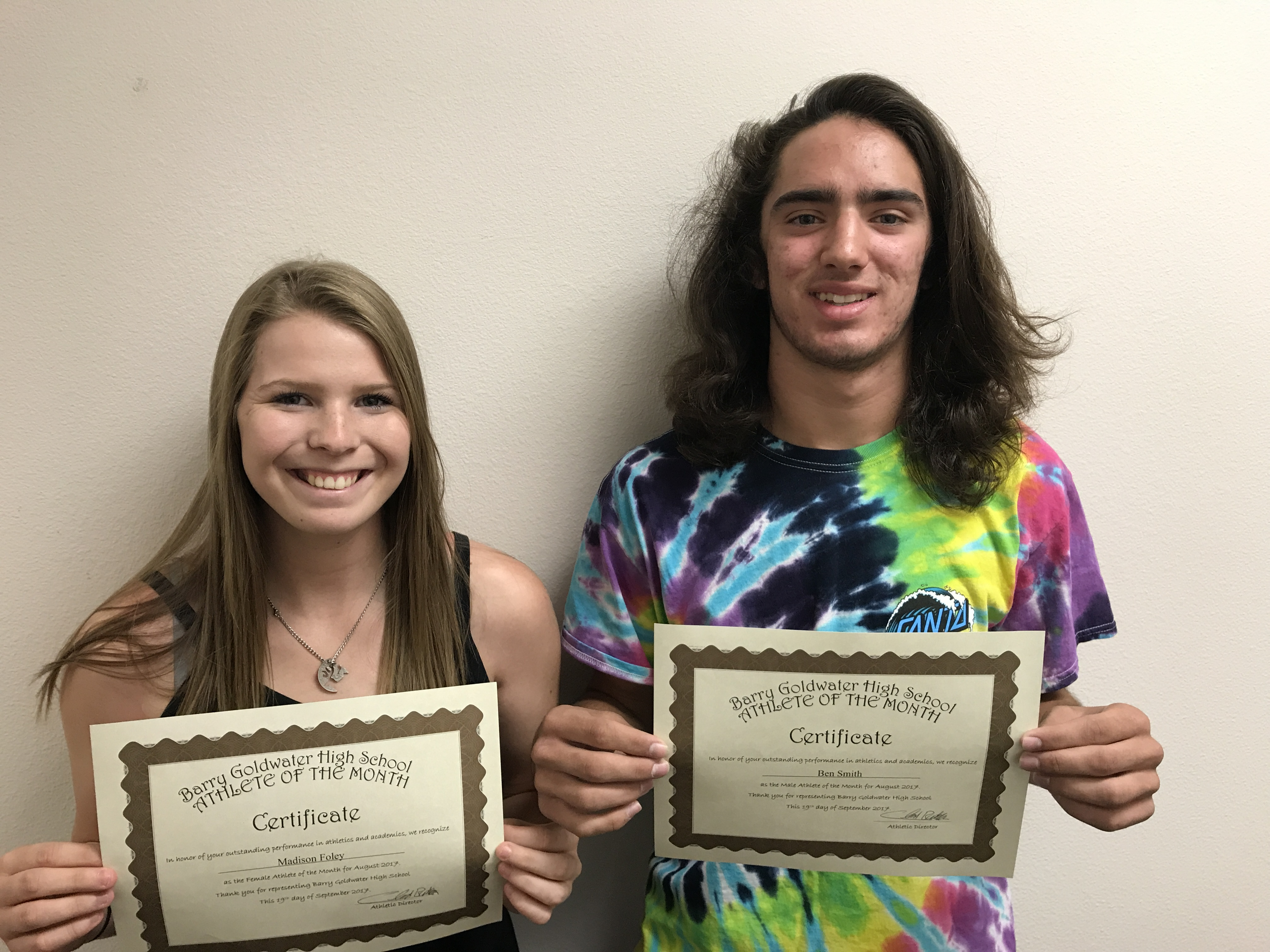 Madison Foley and Ben Smith named August Athletes of the Month