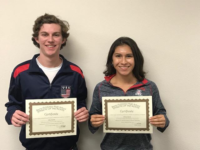 Olivia Garcia and John Jacklin named Athletes of the Month