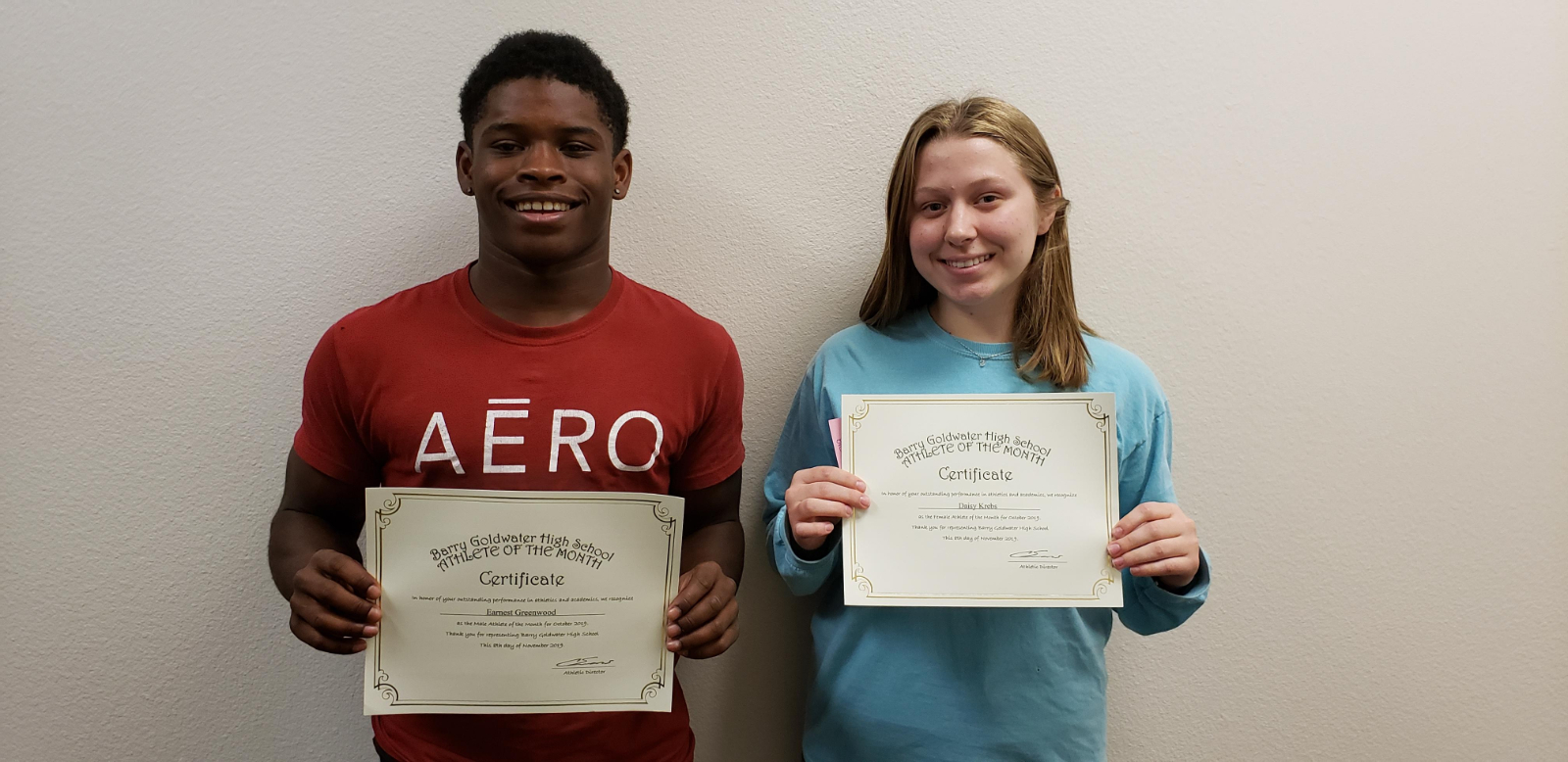 Earnest Greenwood and Daisy Krebs Named October Athletes of the Month
