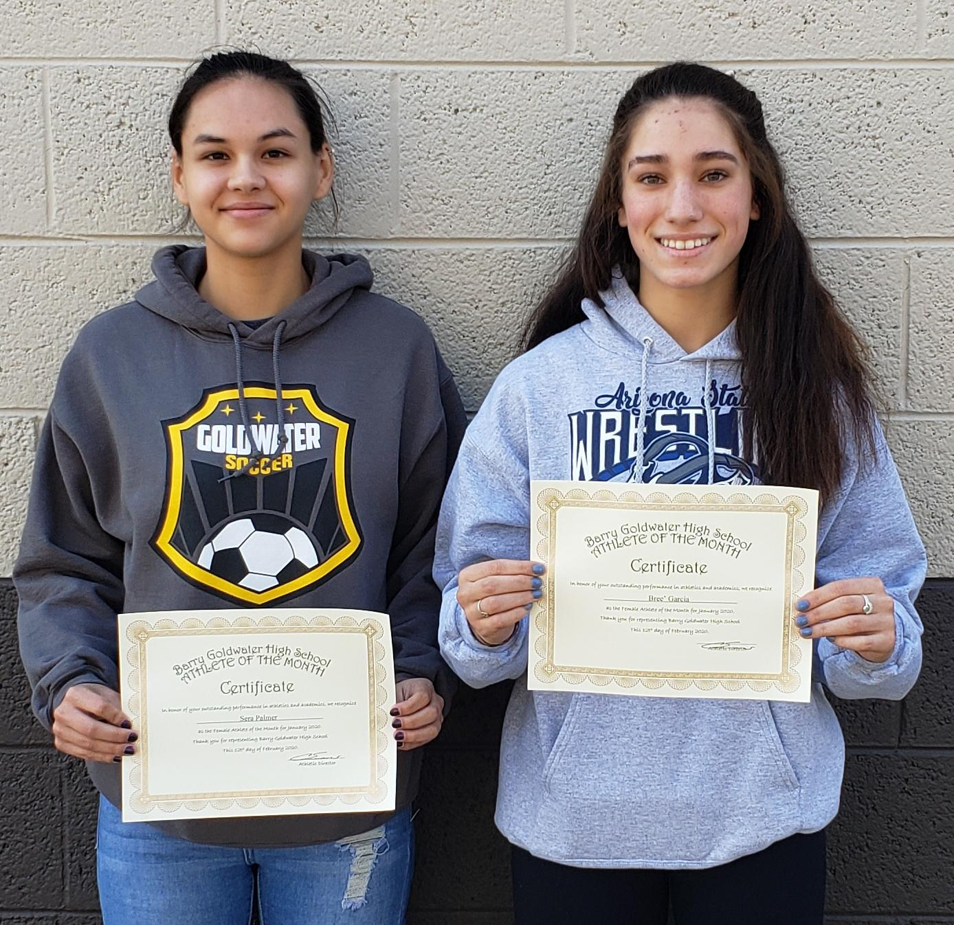 Sera Palmer and Bree' Garcia Named January Athletes of the Month