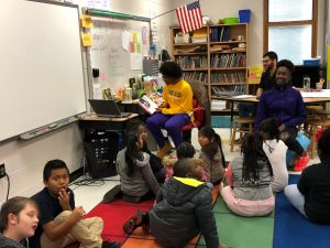 Girl's Basketball Reads to Mathews Elementary Students