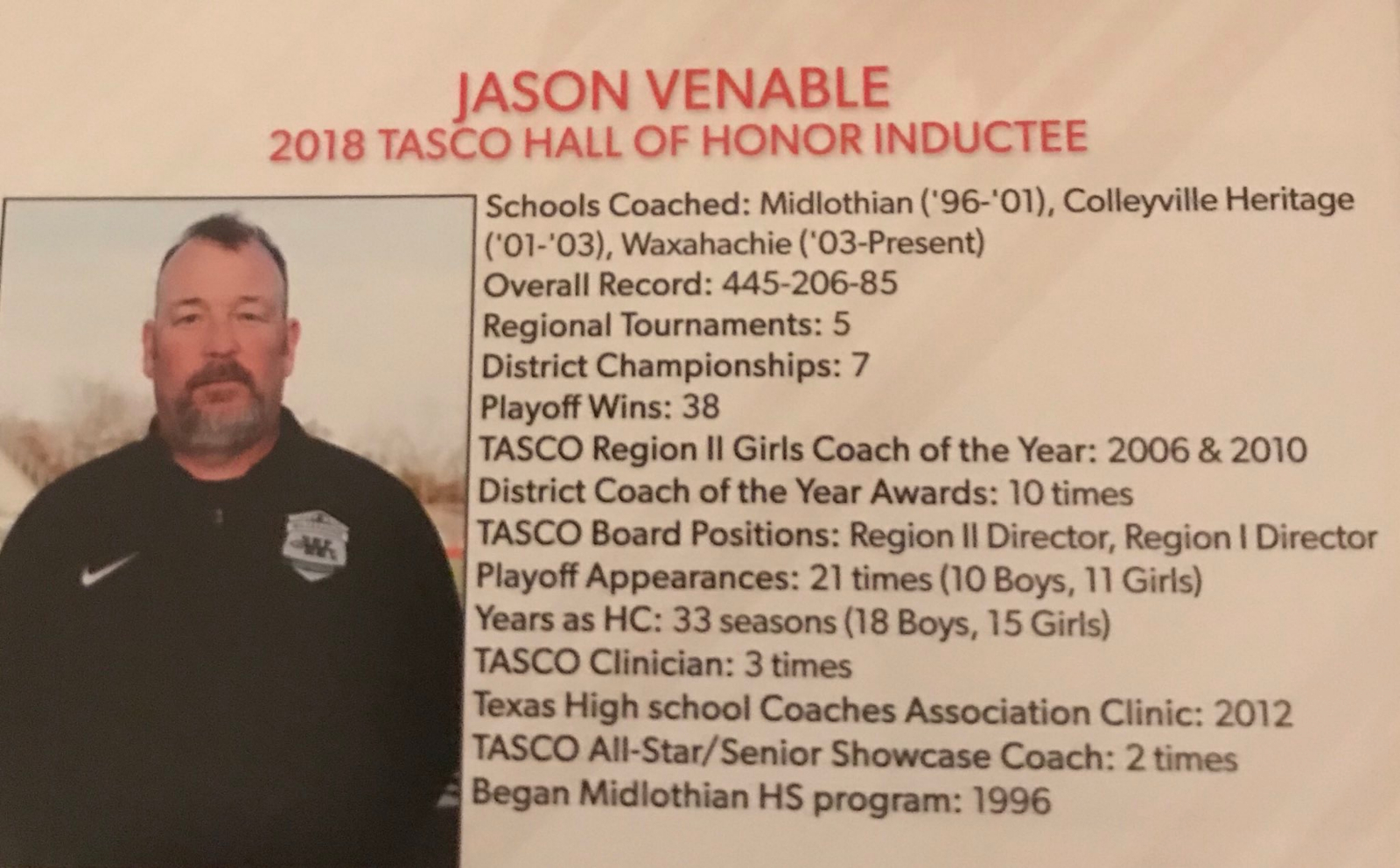 Venable Inducted into Texas Asso. of Soccer Coaches