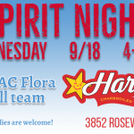 Wednesday is Football Spirit Night at Hardee's on Rosewood