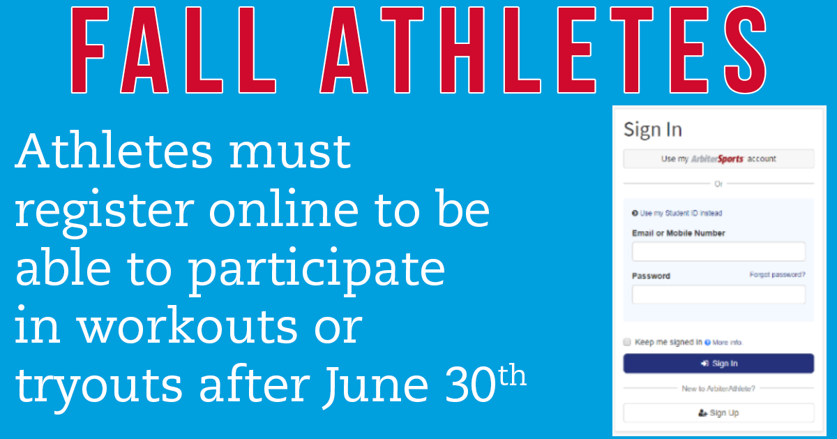 Athletic Registration for 2021-22 Is Now Open