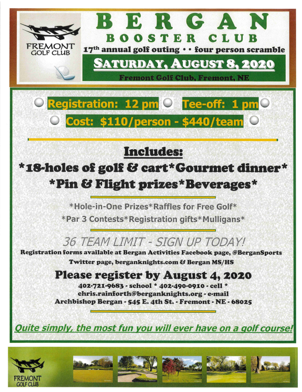 2020 Bergan Booster Club Golf Tournament