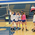 Varsity Volleyball beat Raytown High School 2-0