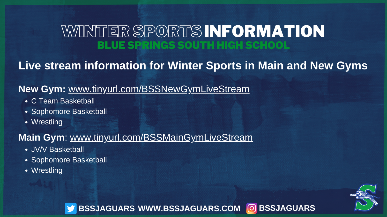 Live Stream Information for Winter Sports in Main and New Gyms