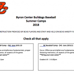 Byron Center Baseball Summer Camp Information