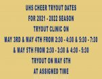 UHS Cheer Tryouts for 2021-2022 School Year