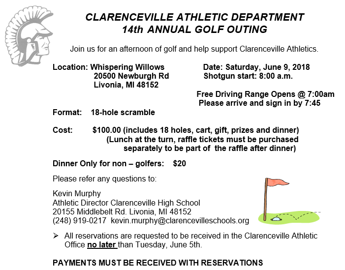 Clarenceville Athletic Department 14th Annual Golf Outing