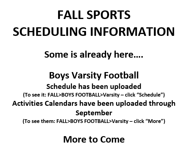 Fall Sports Scheduling