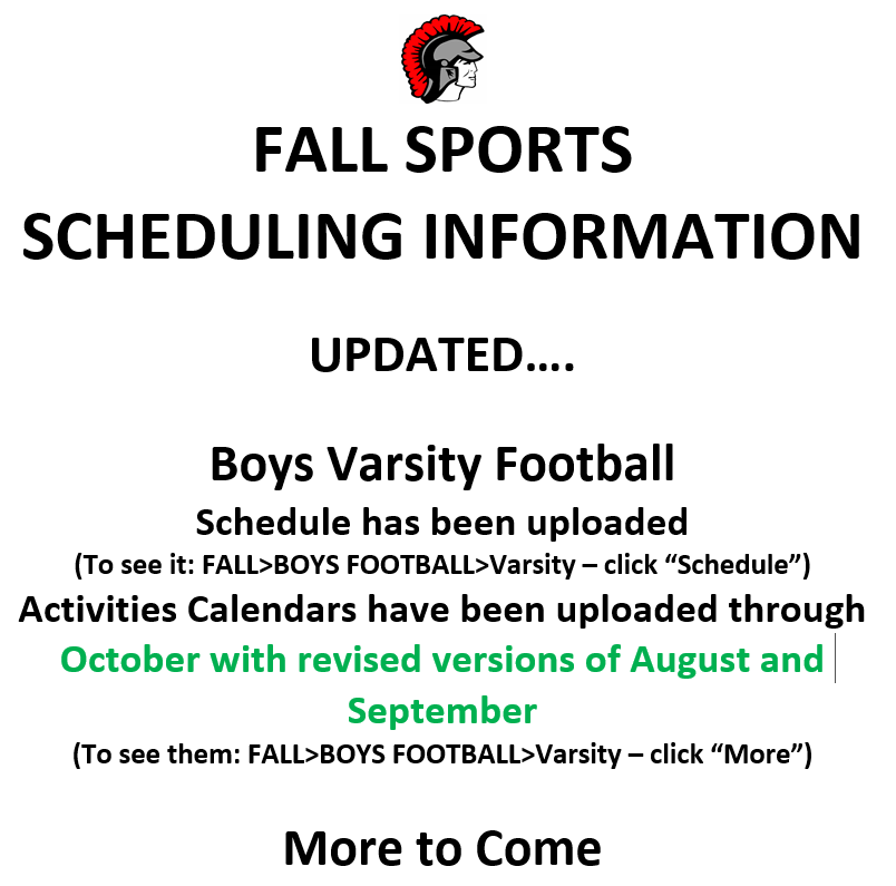 Fall Sports Scheduling UPDATED