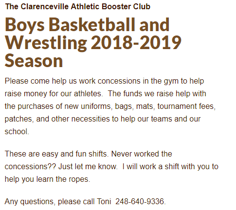 2018-2019 Boy's Basketball and Wrestling SignUpGenius